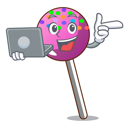 With laptop lollipop with sprinkles character cartoon vector illustration Illustration