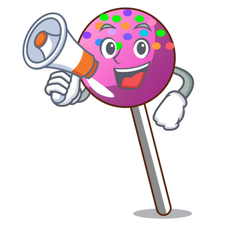With megaphone lollipop with sprinkles character cartoon vector illustration Illustration
