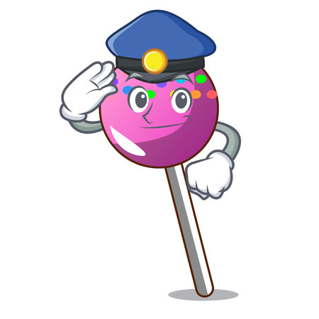 Police lollipop with sprinkles character cartoon vector illustration