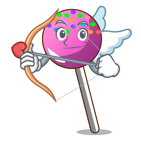 Cupid lollipop with sprinkles character cartoon vector illustration Illustration