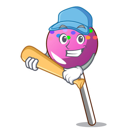 Playing baseball lollipop with sprinkles character cartoon vector illustration