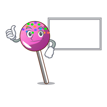 Thumbs up with board lollipop with sprinkles character cartoon vector illustration