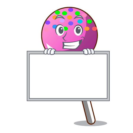 Grinning with board lollipop with sprinkles character cartoon vector illustration