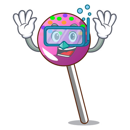 Diving lollipop with sprinkles character cartoon vector illustration