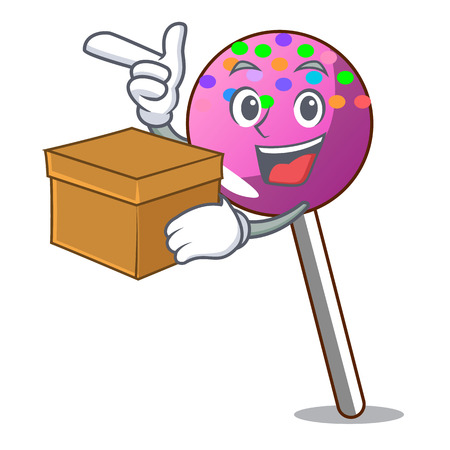 With box lollipop with sprinkles character cartoon vector illustration Illustration