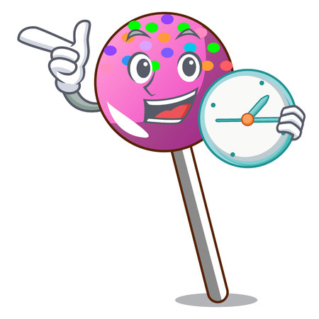 With clock lollipop with sprinkles character cartoon vector illustration