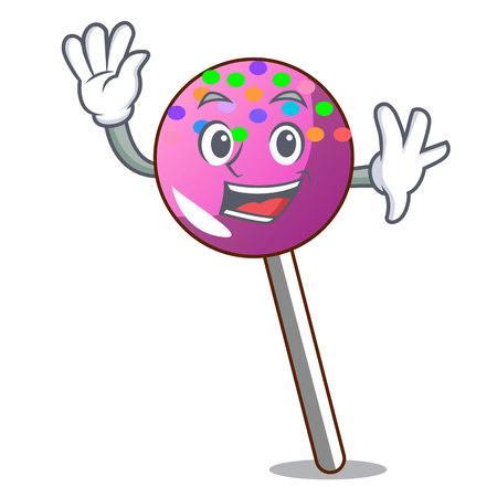 Waving lollipop with sprinkles character cartoon vector illustration