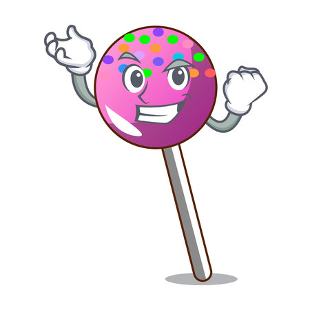 Successful lollipop with sprinkles character cartoon vector illustration Illustration