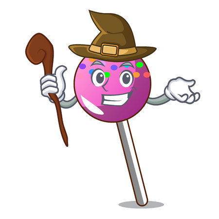 Witch lollipop with sprinkles mascot cartoon vector illustration Illustration