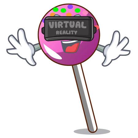 Virtual reality lollipop with sprinkles mascot cartoon vector illustration Illustration