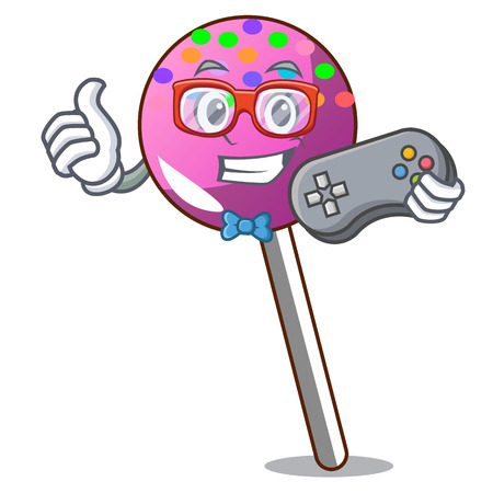 Gamer lollipop with sprinkles mascot cartoon vector illustration