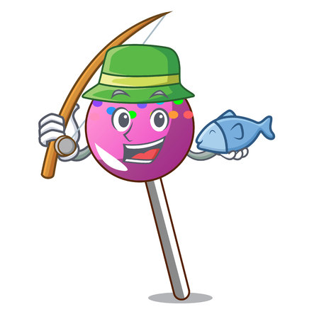 Fishing lollipop with sprinkles mascot cartoon vector illustration