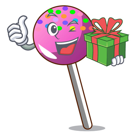 With gift lollipop with sprinkles mascot cartoon vector illustration Illustration