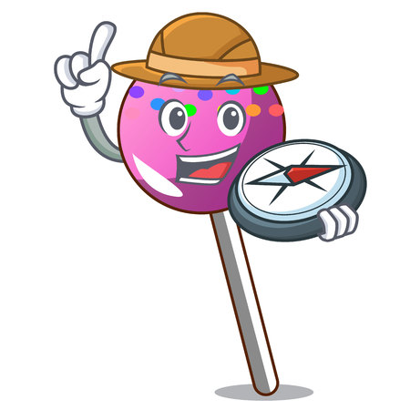 Explorer lollipop with sprinkles mascot cartoon vector illustration