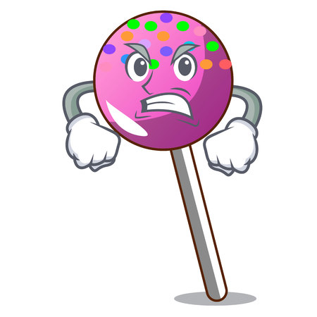 Angry lollipop with sprinkles mascot cartoon vector illustration