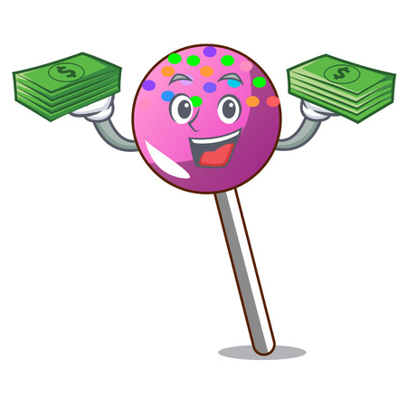 With money bag lollipop with sprinkles mascot cartoon vector illustration