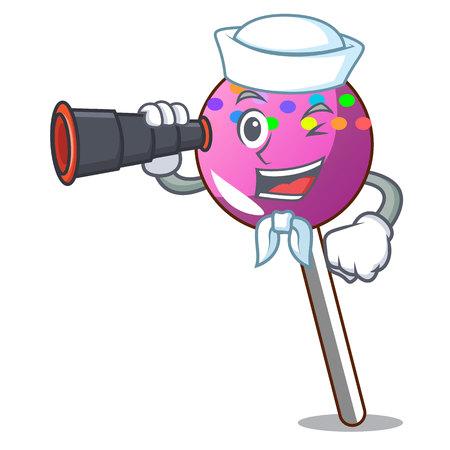 Sailor with binocular lollipop with sprinkles mascot cartoon vector illustration Illustration