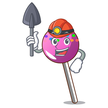 Miner lollipop with sprinkles mascot cartoon vector illustration Illustration