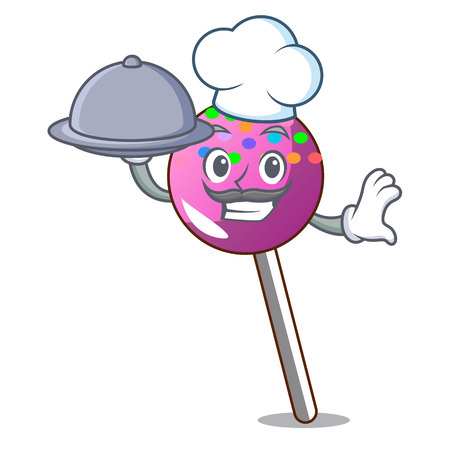 Chef with food lollipop with sprinkles mascot cartoon vector illustration