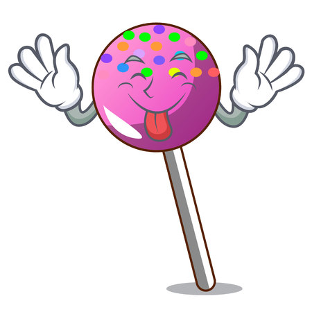 Tongue out lollipop with sprinkles mascot cartoon vector illustration