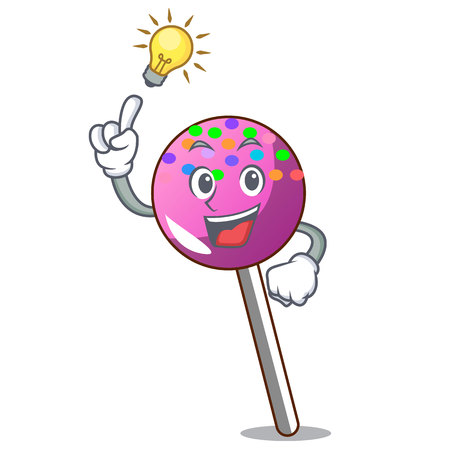 Have an idea lollipop with sprinkles mascot cartoon vector illustration