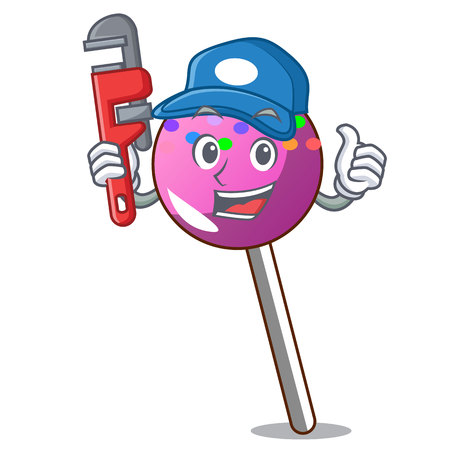 Plumber lollipop with sprinkles mascot cartoon vector illustration