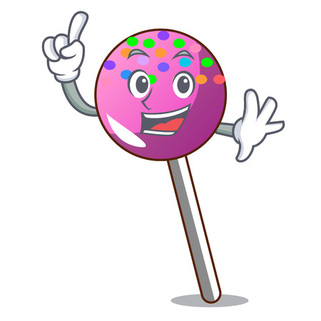 Finger lollipop with sprinkles mascot cartoon vector illustration Illustration