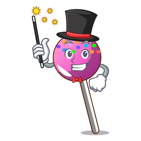 Magician lollipop with sprinkles mascot cartoon vector illustration Illustration