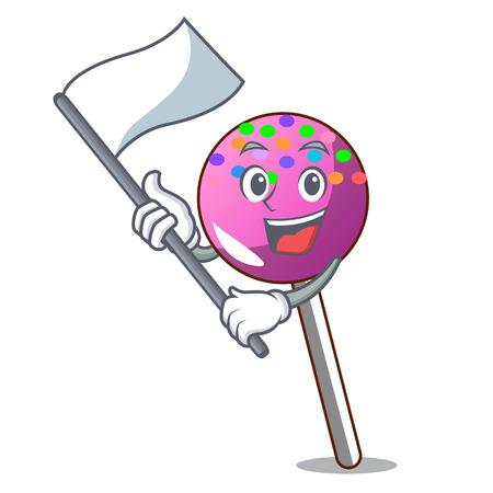 With flag lollipop with sprinkles mascot cartoon vector illustration Illustration