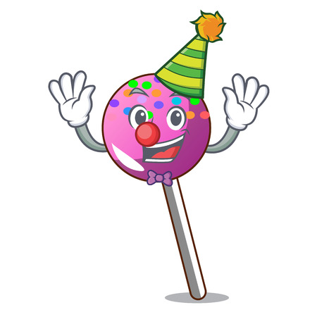 Clown lollipop with sprinkles mascot cartoon vector illustration Illustration