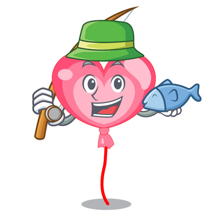 Fishing ballon heart mascot cartoon vector illustration Illustration