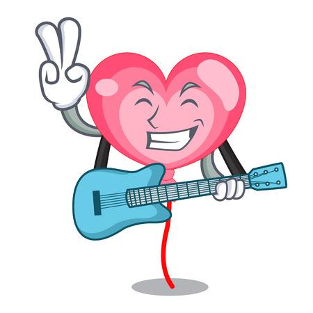 With guitar ballon heart mascot cartoon vector illustration Stock Illustratie