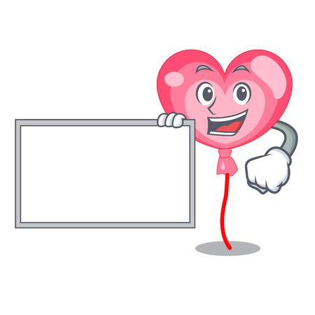 With board balloon heart character cartoon vector illustration