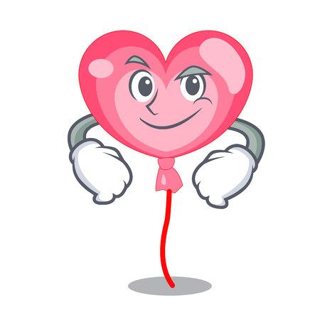 Smirking balloon heart character cartoon vector illustration