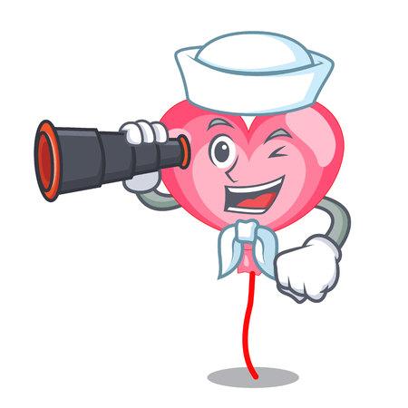 Sailor with binocular balloon heart mascot cartoon vector illustration Illustration