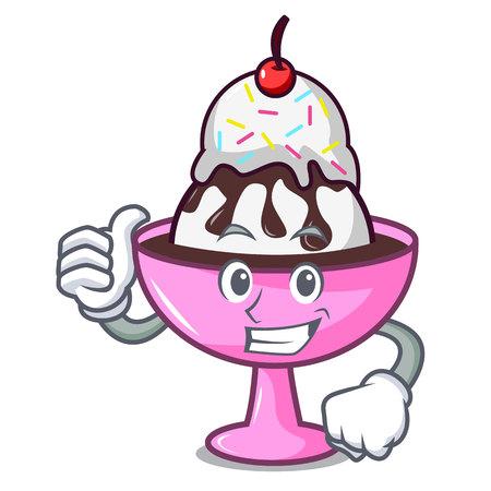 Thumbs up ice cream sundae character cartoon vector illustration Stock Illustratie