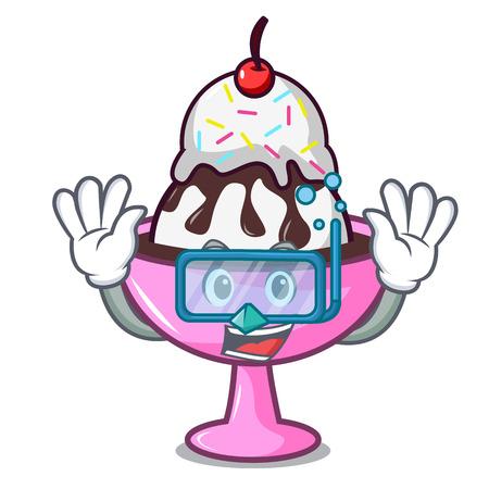 Diving ice cream sundae character cartoon vector illustration