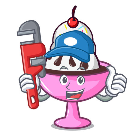 Plumber ice cream sundae mascot cartoon vector illustration