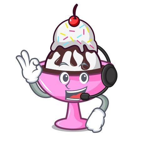 With headphone ice cream sundae mascot cartoon vector illustration