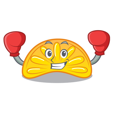 Boxing orange jelly candy character cartoon vector illustration