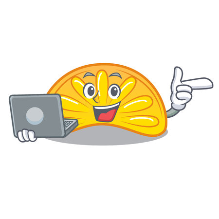 With laptop orange jelly candy character cartoon vector illustration Çizim