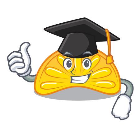 Graduation orange jelly candy character cartoon vector illustration Illustration