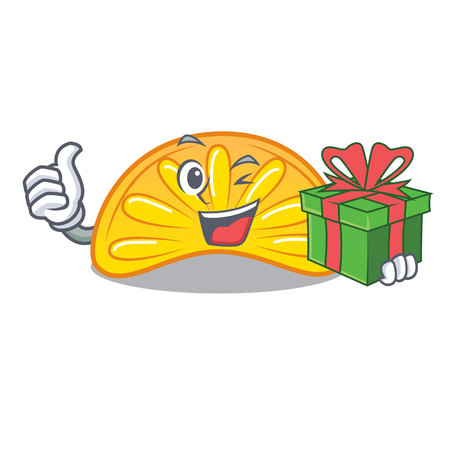 With gift orange jelly candy mascot cartoon vector illustration