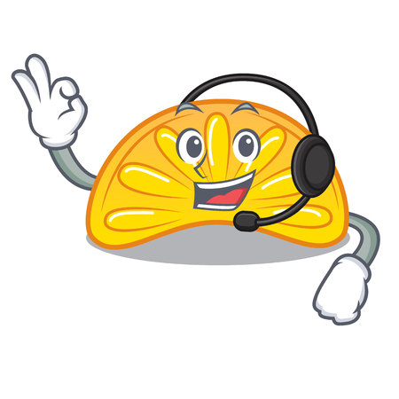 With headphone orange jelly candy mascot cartoon vector illustration Illustration