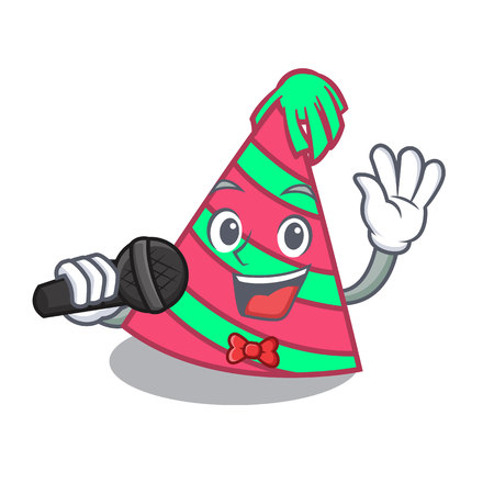 Singing party hat mascot cartoon Illustration