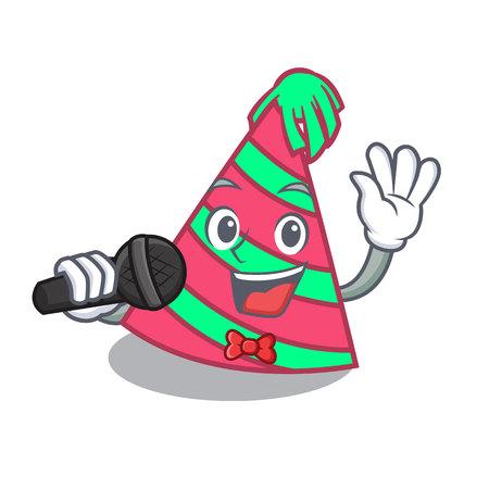 Singing party hat mascot cartoon Ilustrace
