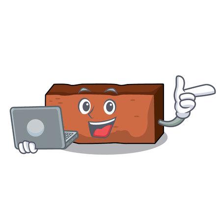 With laptop brick character cartoon style vector illustration Illustration