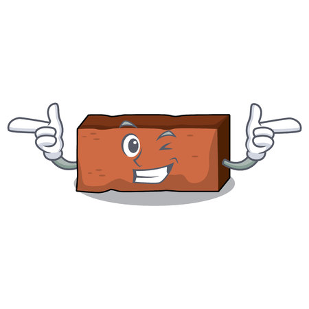 Wink brick character cartoon style vector illustration