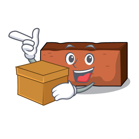 With box brick character cartoon style vector illustration
