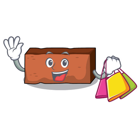 Shopping brick character cartoon style vector illustration